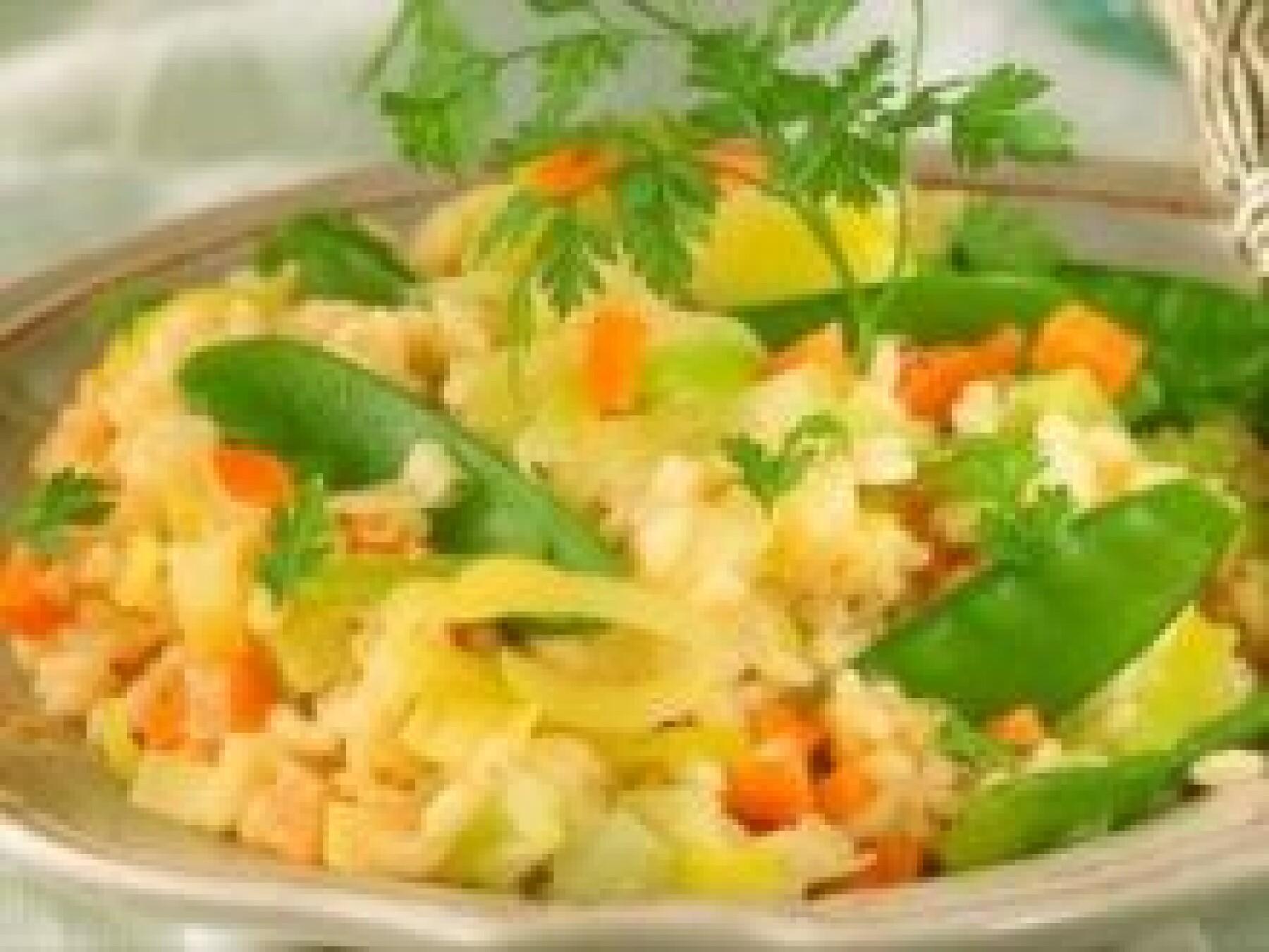 Risotto poireaux-carottes-pois gourmands