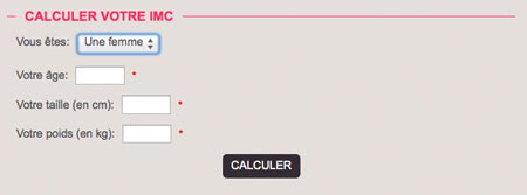calcul IMC
