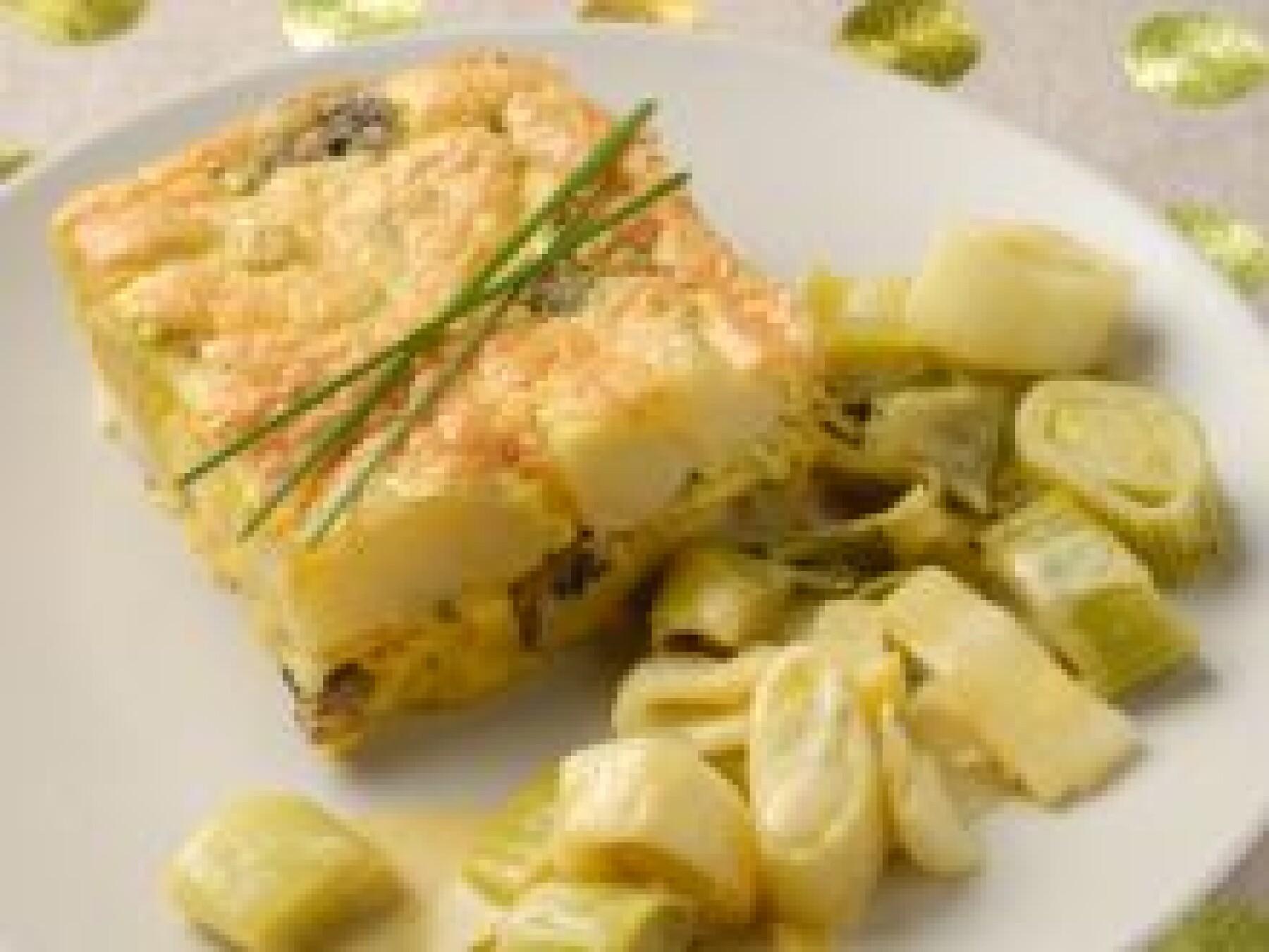 Omelette soufflée aux herbes et fondue de poireaux