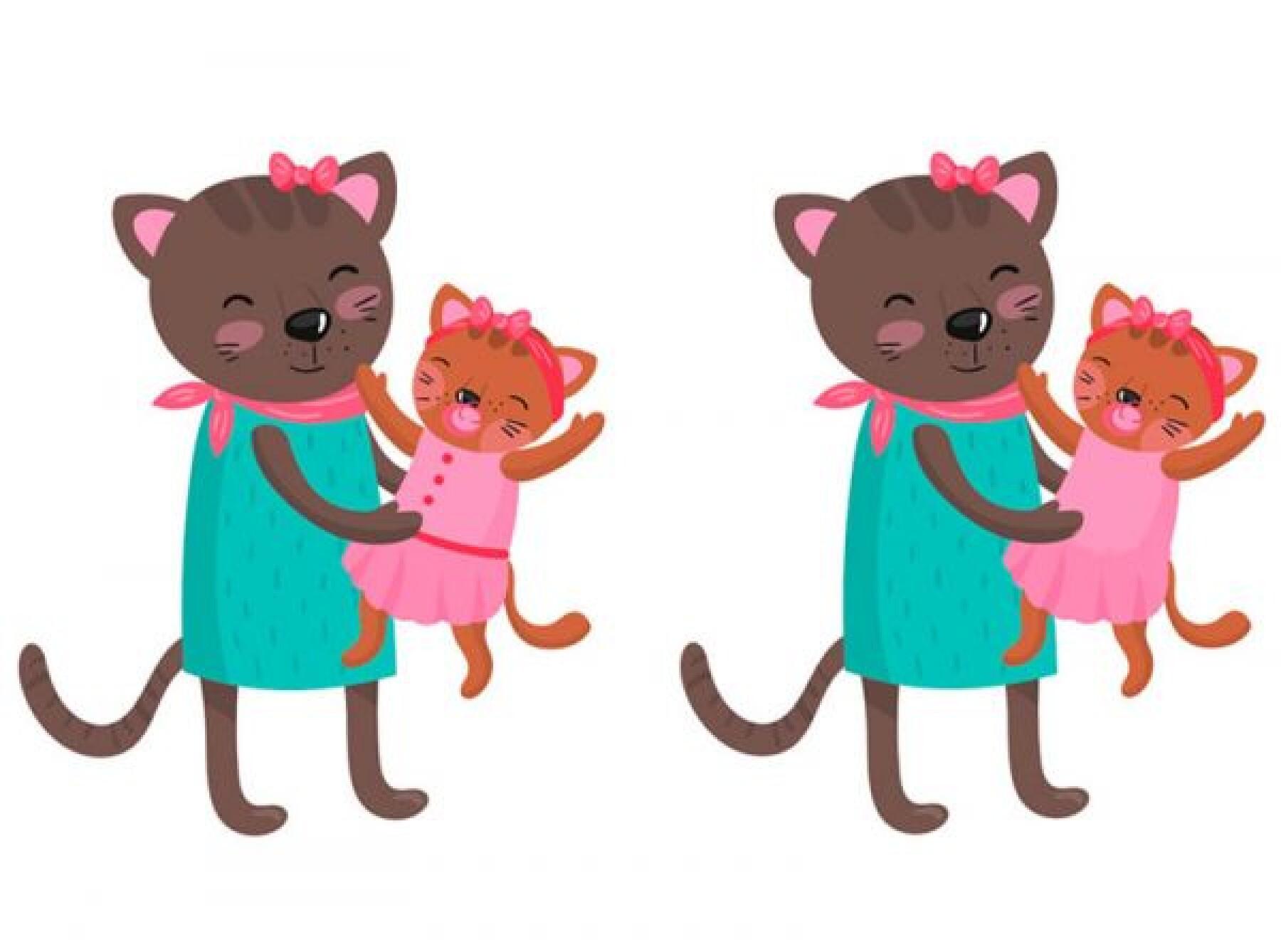 Le jeu des différences de la maman chat
