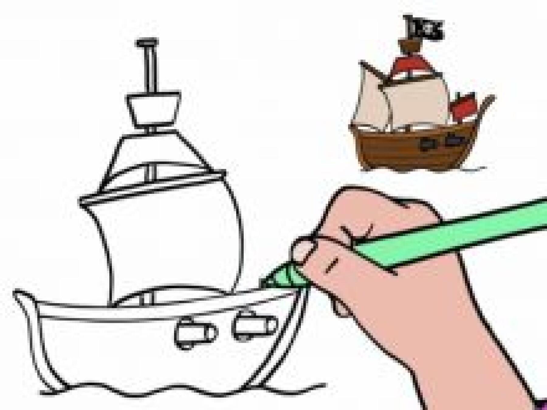 Dessiner un bateau-pirate
