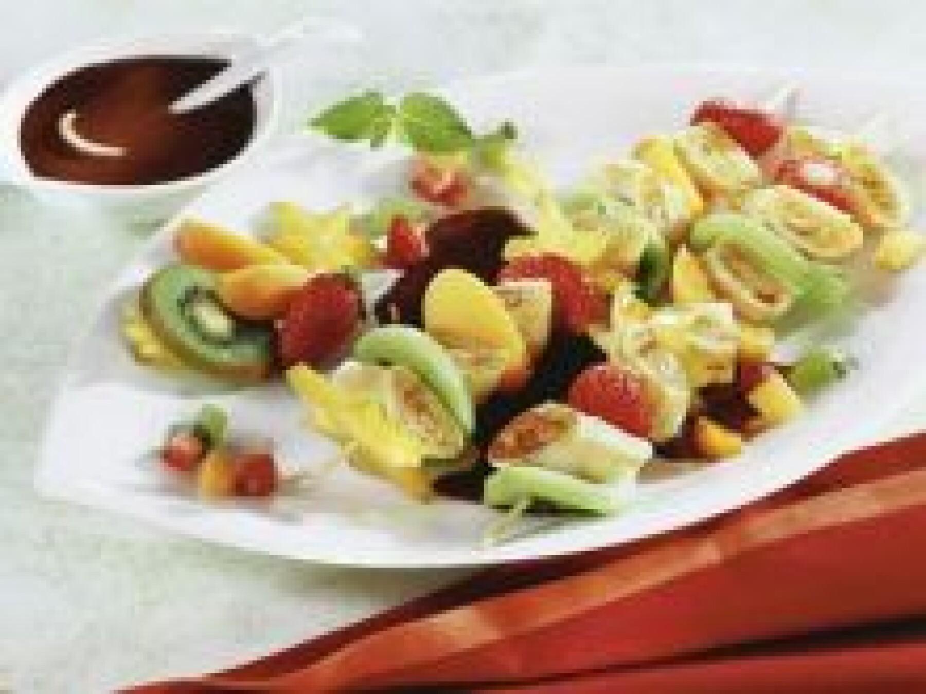 Brochettes crêpes-fruits
