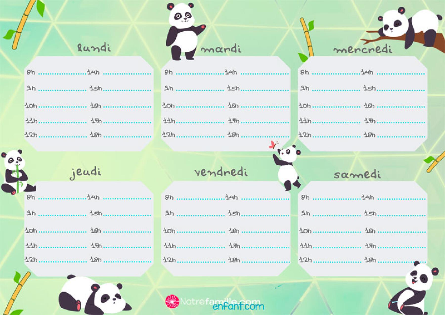emploi du temps panda