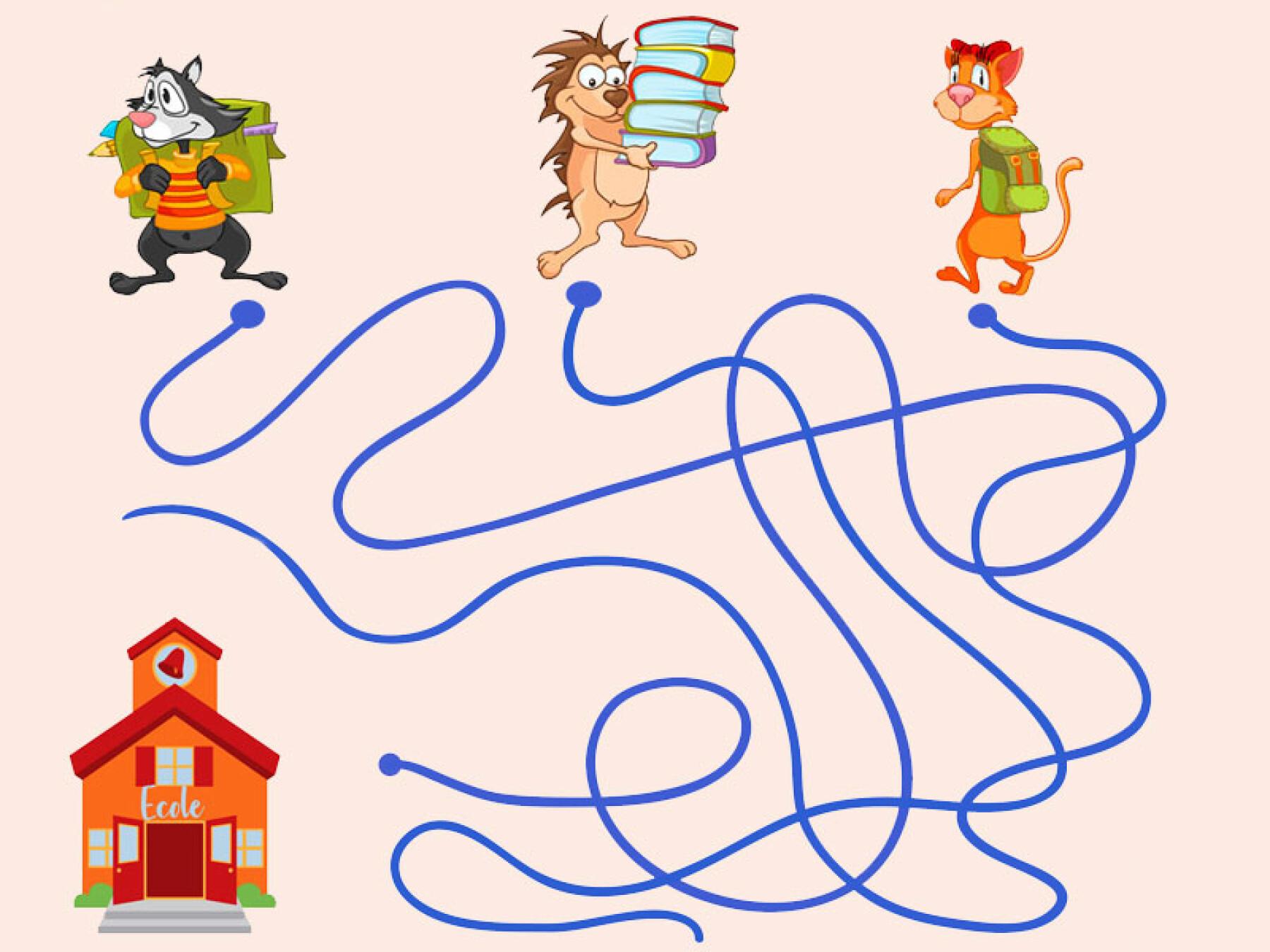 Jeu de labyrinthe: le chemin de l'école