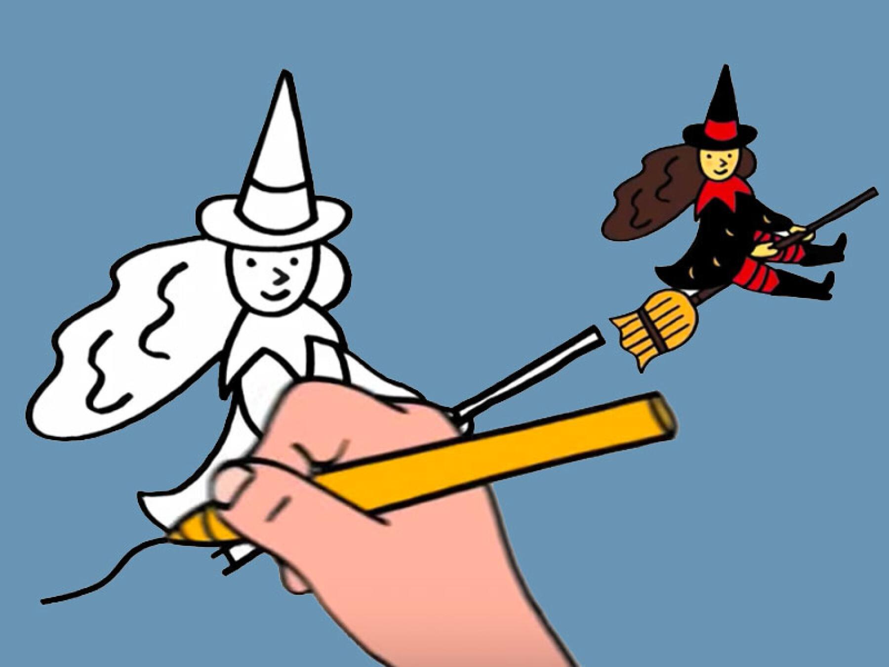 Vidéo dessiner une sorcière