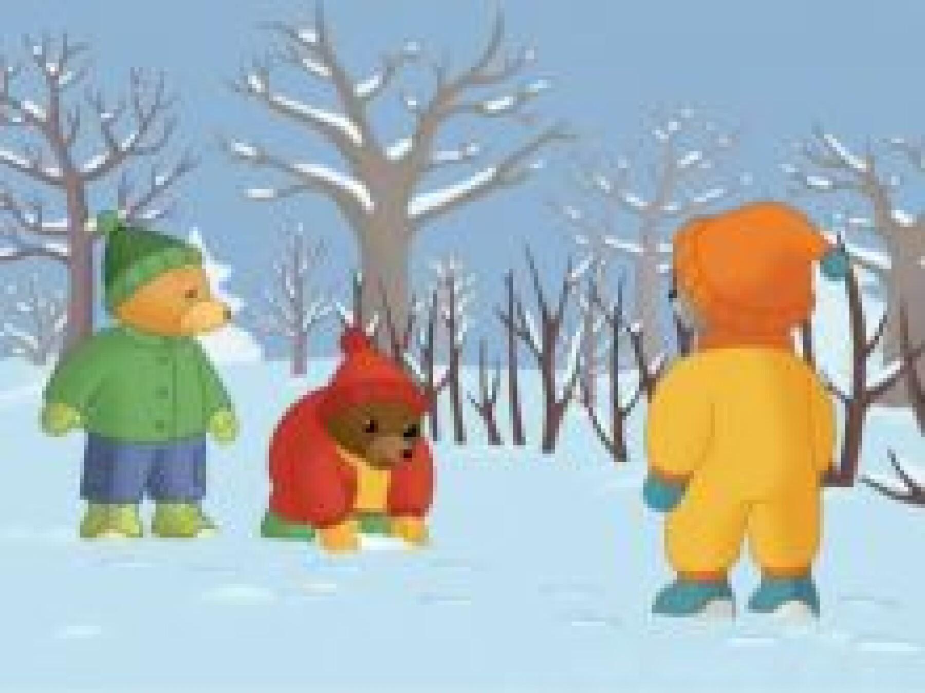 Petit Ours Brun joue à la neige