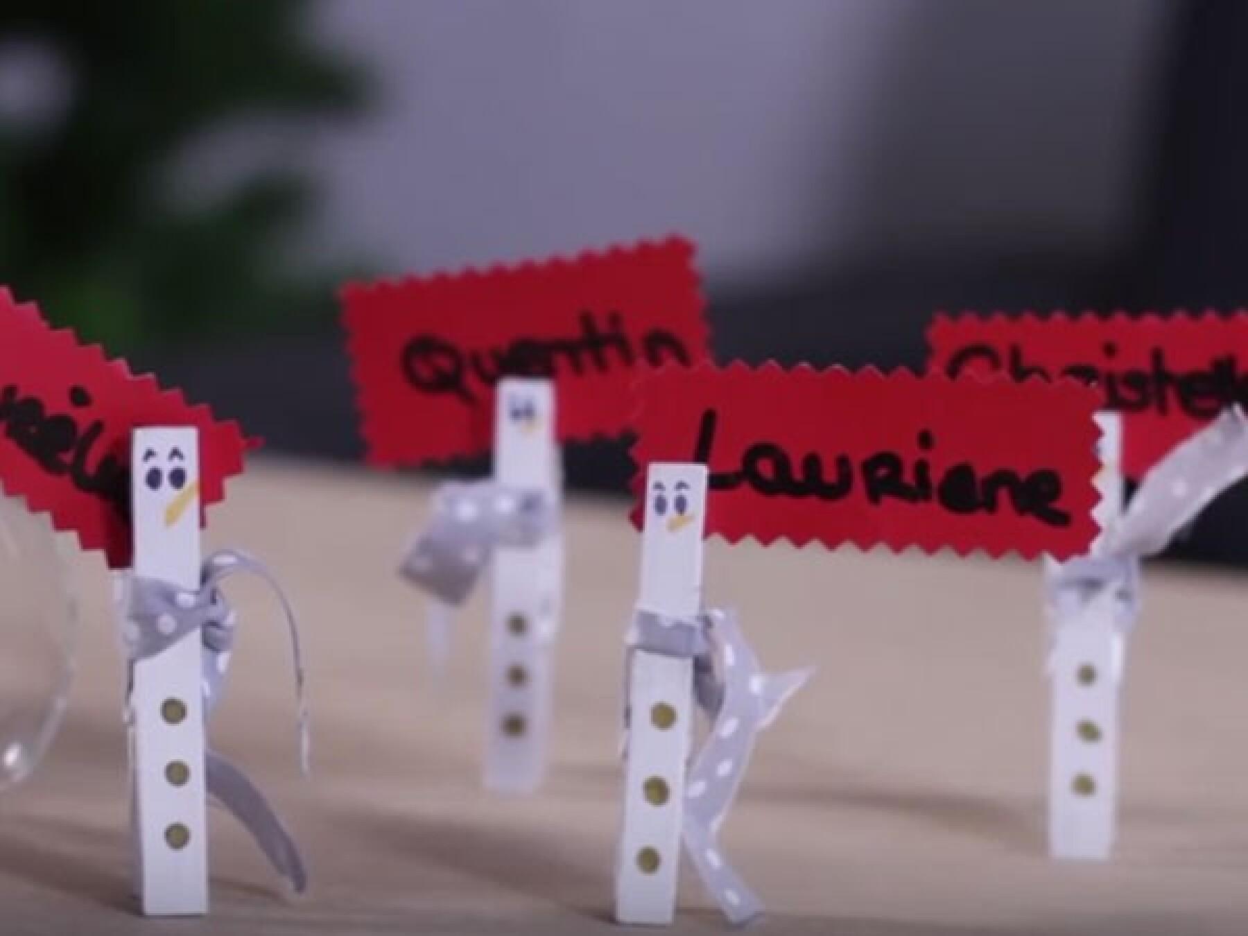 Bricolage Noël : marque-place bonhomme de neige