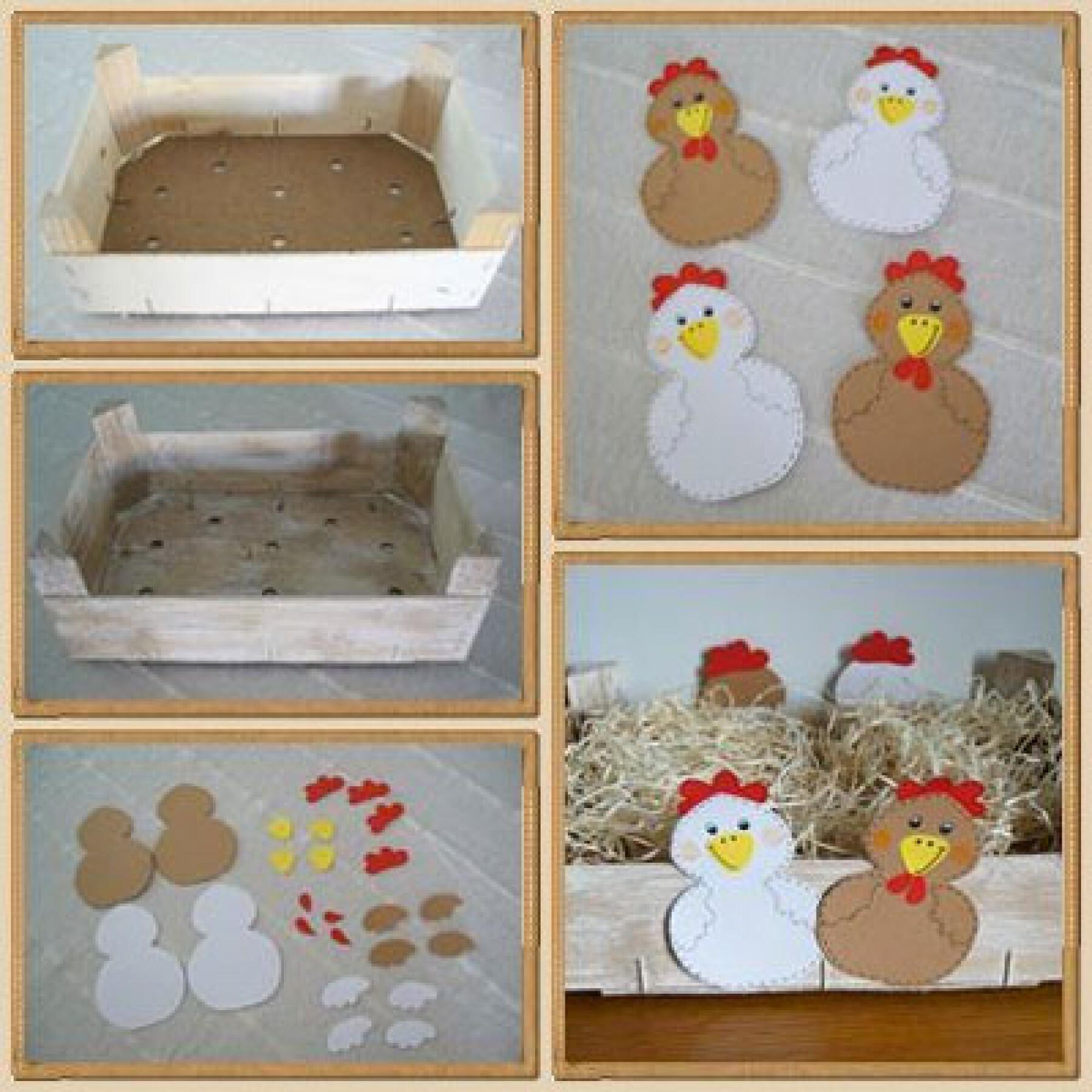 bricolage de panier de Pâques avec des cagettes